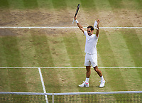 Roger Federer (3) of Switzerland celebrates his victory against Marin Cilic (7) of Croatia in their Gentlemen's Singles Final - Federer def Cilic 6-3, 6-1, 6-4<br /> <br /> Photographer Ashley Western/CameraSport<br /> <br /> Wimbledon Lawn Tennis Championships - Day 13 - Sunday 16th July 2017 -  All England Lawn Tennis and Croquet Club - Wimbledon - London - England<br /> <br /> World Copyright &not;&copy; 2017 CameraSport. All rights reserved. 43 Linden Ave. Countesthorpe. Leicester. England. LE8 5PG - Tel: +44 (0) 116 277 4147 - admin@camerasport.com - www.camerasport.com