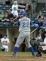 May 10, 2004:  Jared Sandberg of the Durham Bulls, International League (AAA) affiliate of the Tampa Bay Devil Rays, during a game at Frontier Field in Rochester, NY.  Photo by:  Mike Janes/Four Seam Images