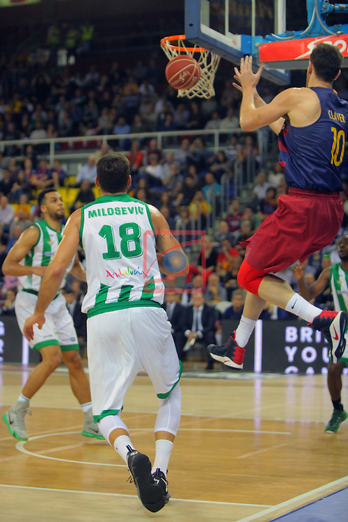 League ACB-ENDESA 2016/2017. Game: 5.<br /> FC Barcelona Lassa vs BEP-Real Betis Energia Plus: 80-58.<br /> Strahinja Milosevic vs Victor Claver.