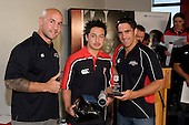 Under 14's Most Improved Player of the Year Hayden Symes with DJ Forbes & Chad Tuoro. Counties Manukau Rugby Union Junior representative prize giving held at Growers Stadium on Monday October 20th 2008.