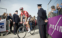 Jurgen Roelandts (BEL/Lotto-Belisol) off to the start<br /> <br /> Gent-Wevelgem 2014