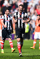 Grimsby Town's Danny Collins reacts after scoring his team's first goal<br /> <br /> Photographer Richard Martin-Roberts/CameraSport<br /> <br /> The EFL Sky Bet League Two - Blackpool v Grimsby Town - Saturday 8th April 2017 - Bloomfield Road - Blackpool<br /> <br /> World Copyright &copy; 2017 CameraSport. All rights reserved. 43 Linden Ave. Countesthorpe. Leicester. England. LE8 5PG - Tel: +44 (0) 116 277 4147 - admin@camerasport.com - www.camerasport.com