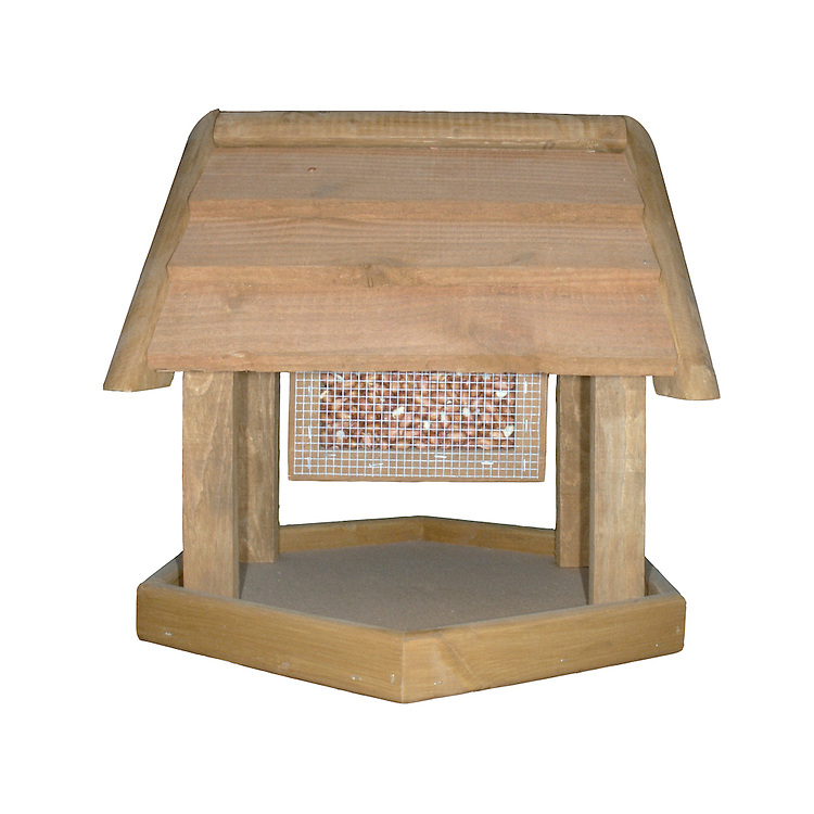 Wooden Bird Table. A common design for feeding garden birds.