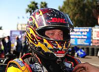 Feb. 17 2012; Chandler, AZ, USA; NHRA funny car driver Jeff Arend before making a run at the Arizona Nationals at Firebird International Raceway. Mandatory Credit: Mark J. Rebilas-