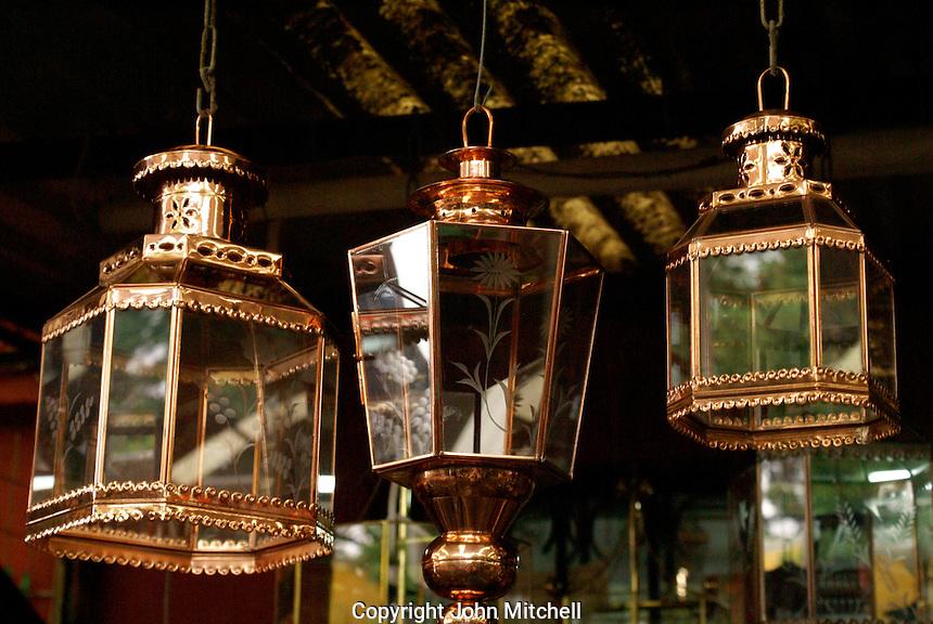 Tin lanterns for sale in the handicrafts market,  San Miguel de Allende, Mexico. San Miguel de Allende is a UNESCO World Heritage Site....