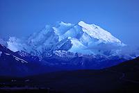 Mt. McKinley at midnight in late summer light, Denali National Park, Alaska