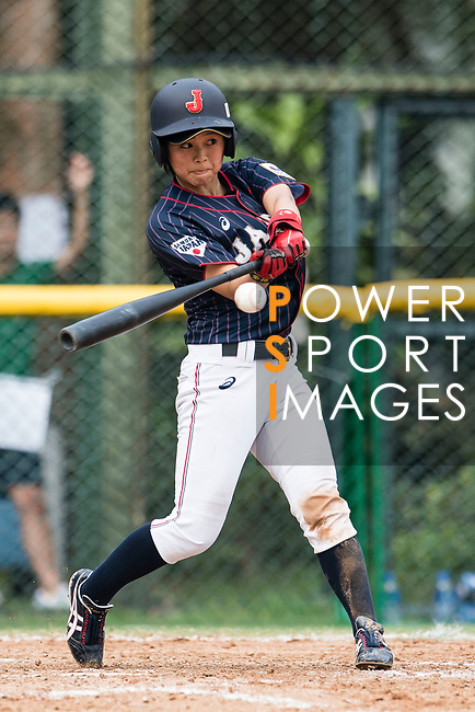 #23 Abe Nozomi of Japan bats during the BFA Women's Baseball Asian Cup match between South Korea and Japan at Sai Tso Wan Recreation Ground on September 2, 2017 in Hong Kong. Photo by Marcio Rodrigo Machado / Power Sport Images