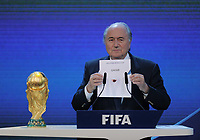2nd december 2010, Zurich -  FIFA World Cup selection for 2018 and 2022 - FIFA President Joseph Sepp Blatter (SUI) announces Qatar for the  2022 event; On April 6th 2020, in addition to Ricardo Teixeira, the former president of the Brazilian Football Confederation and the now-deceased ex-COMNEBOL president Nicolas Leoz and a co-conspirator, two former Fox employees have been indicted as part of the investigation into corruption by US official, which claims that Russia and Qatar offered and paid bribes to secure votes in the process that saw them awarded the 2018 and 2022 World Cups,  an indictment in the United States alleges. The document, was brought by federal prosecutors in New York as part of the long-running investigation into corruption surrounding football's governing body