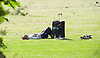 Weather in Morden a man relaxes in the sunshine<br /> <br /> 27th May 2017 <br /> <br /> Photograph by Elliott Franks <br /> Image licensed to Elliott Franks Photography Services