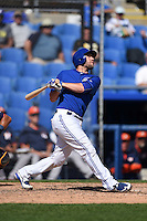 Toronto Blue Jays catcher Josh Thole (22) during a Spring Training game against the Houston Astros on March 9, 2015 at Florida Auto Exchange Stadium in Dunedin, Florida.  Houston defeated Toronto 1-0.  (Mike Janes/Four Seam Images)