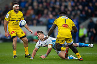 24th November 2019; AJ Bell Stadium, Salford, Lancashire, England; European Champions Cup Rugby, Sale Sharks versus La Rochelle; Rohan Janse van Rensburg of Sale Sharks passes the ball in front of Dany Priso of La Rochelle - Editorial Use
