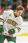 29 December 2014: University of Vermont Catamount Forward Colin Markison, a Senior from Princeton, NJ, prepares to face the Providence College Friars in the deciding game of the annual TD Bank-Sheraton Catamount Cup Tournament at Gutterson Fieldhouse in Burlington, Vermont. The Friars shut out the Catamounts 3-0 to win the 2014 Cup. Mandatory Credit: Ed Wolfstein Photo *** RAW (NEF) Image File Available ***
