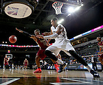SIOUX FALLS, SD - MARCH 8: Davron Williams #15 of IUPUI and Debell Henderson #34 of Oral Roberts ight for a rebound  in the second half of their second round Summit League Championship Tournament game Sunday evening at the Denny Sanford Premier Center in Sioux Falls, SD.  (Photo by Dave Eggen/Inertia)