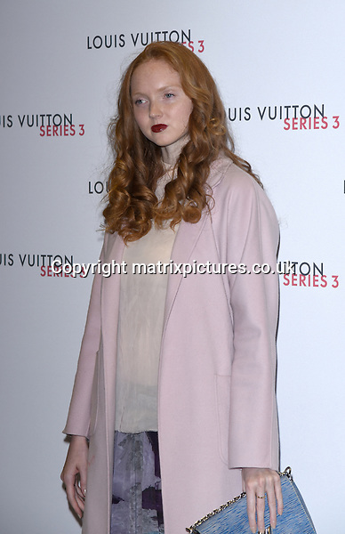NON EXCLUSIVE PICTURE: MATRIXPICTURES.CO.UK<br /> PLEASE CREDIT ALL USES<br /> <br /> WORLD RIGHTS<br /> <br /> English model and actress Lily Cole attending the Louis Vuitton Series 3 Exhibition launch party, in London. <br /> <br /> SEPTEMBER 20th 2015<br /> <br /> REF: SLI 152927