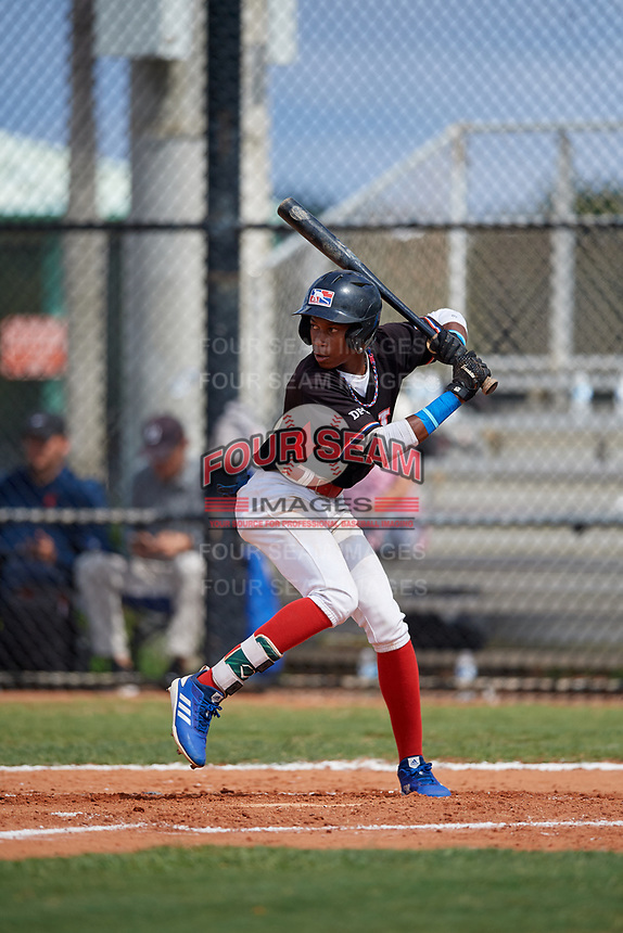 John Peguero (4) during the Dominican Prospect League Elite Florida Event at Pompano Beach Baseball Park on October 15, 2019 in Pompano beach, Florida.  (Mike Janes/Four Seam Images)