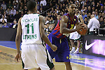 Euroleague el FC Barcelona guanya 83 -82 al Panathinaikos en el primer partit del playoff.Andreson busca a qui pasar la pilota