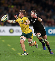 Michael Hooper of the Wallabies gathers in the ball under pressure from Kieran Read of the All Blacks during the Rugby Championship match between Australia and New Zealand at Optus Stadium in Perth, Australia on August 10, 2019 . Photo: Gary Day / Frozen In Motion
