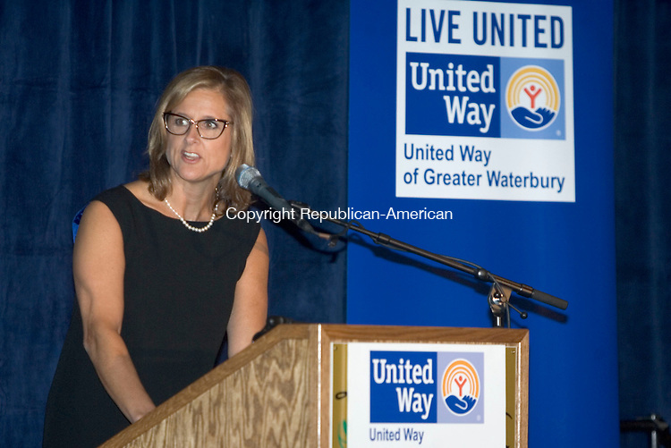 WATERBURY CT. 10 September 2013-091013SV07-Kristen Jacoby, President, addresses supporters at the Greater Waterbury United Way annual campaign kickoff breakfast in Waterbury Tuesday.<br /> Steven Valenti Republican-American