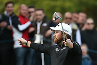 BIRDIE #17. Relief from putting frustration as Shane Lowry (IRL) raises his arms  during the Final Round of the British Masters 2015 supported by SkySports played on the Marquess Course at Woburn Golf Club, Little Brickhill, Milton Keynes, England.  11/10/2015. Picture: Golffile | David Lloyd<br /> <br /> All photos usage must carry mandatory copyright credit (&copy; Golffile | David Lloyd)