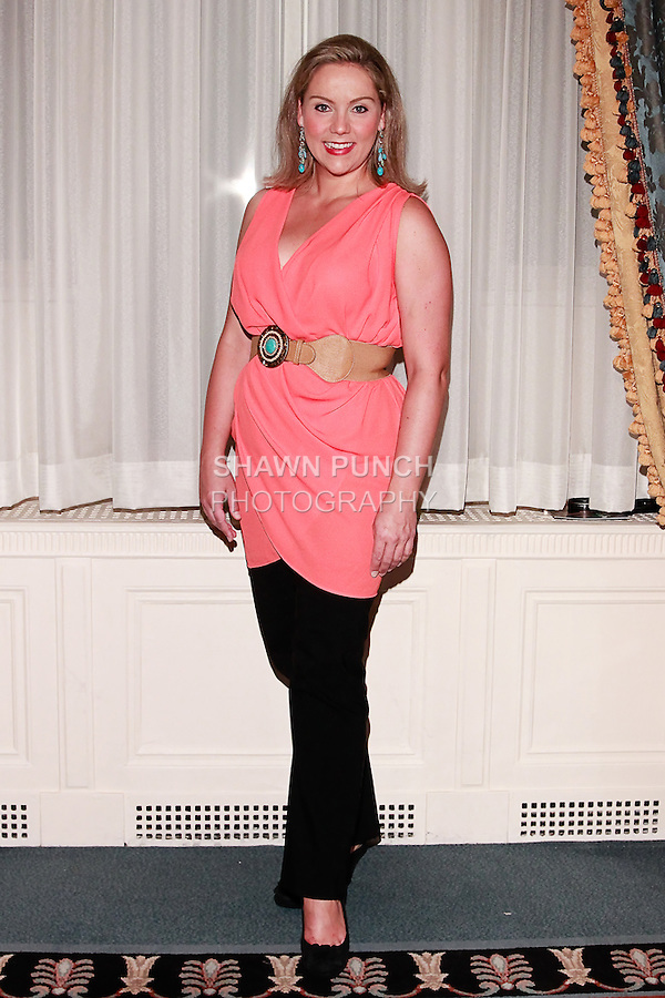 Soprano singer Christine Reber, attends Couture Fashion Week, Spring 2012 at the Waldorf Astoria-Hotel in New York City.