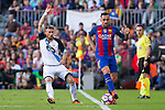 Deportivo de La Coruna's Fernando Navarro and FC Barcelona's Paco Alcacer during the La Liga match between Futbol Club Barcelona and Deportivo de la Coruna at Camp Nou Stadium Spain. October 15, 2016. (ALTERPHOTOS/Rodrigo Jimenez)