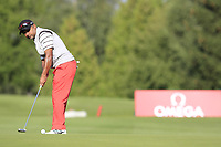 Rahil Gangjee (IND) putts on the 10th green during Thursday's Round 1 of the 2017 Omega European Masters held at Golf Club Crans-Sur-Sierre, Crans Montana, Switzerland. 7th September 2017.<br /> Picture: Eoin Clarke | Golffile<br /> <br /> <br /> All photos usage must carry mandatory copyright credit (&copy; Golffile | Eoin Clarke)
