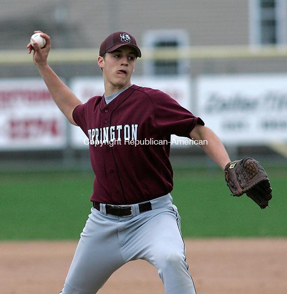 TORRINGTON, CT 4/25/07- 042507BZ05- Torrington's Dustin Waldron (32) pitches against Wilby Wednesday.<br /> Jamison C. Bazinet Republican-American
