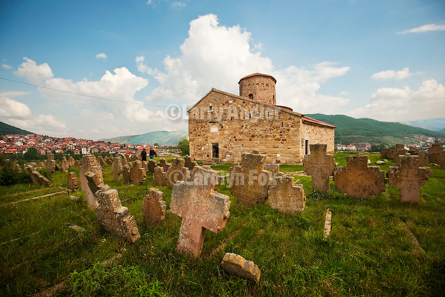 Novi Pazar--St. Peter church, built 10th century and founded 100 AD by a desciple of St. Peter--Novi Pazar, Serbia...The city also houses an old church from the 9th century[3], the church of St. Peter, referred to as Petrova crkva, which suffered offensive graffiti by ethnic Bosniaks in April 2008[3]. On a hilltop overlooking Novi Pazar is the 12th century monastery of ?ur?evi stupovi, long left in ruin, but recently restored and with a monastic community using it, with plate glass to keep out the weather and preserve the fine frescos. The fine main mosque of the city, the Altun-Alem mosque, is the largest in this region of the Balkans and dates from 16th century. There are various other historic Ottoman buildings, such as the fine 17th century Amir-agin Han, a 15th century Hammam, and the 15th century Turkish fortress (all gone but the walls, the site of which is now a pleasant walled park in the city centre).