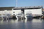 Fairline boatyard. Urban redevelopment of docks, Ipswich Wet Dock, Suffolk, England