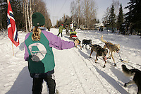 March 3, 2007.  Anchorage, Alaska.  Lachlan Clarke On the ceremonial start day of the Iditarod Trail Sled Dog Race