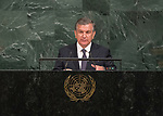 Opening of GA 72 2017 PM<br /> <br /> His Excellency Shavkat Mirziyoyev, President of the Republic of Uzbekistan