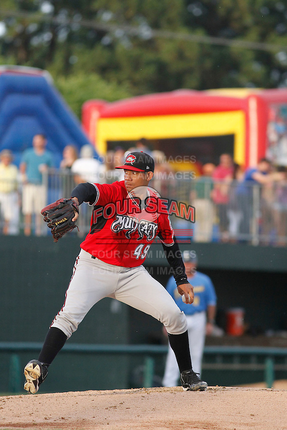 Carolina Mudcats pitcher Yean Carlos Gil (49) on the mound during a game against the Myrtle Beach Pelicans at Ticketreturn.com Field at Pelicans Ballpark on June 4, 2015 in Myrtle Beach, South Carolina. Carolina defeated Myrtle Beach 3-2. (Robert Gurganus/Four Seam Images)
