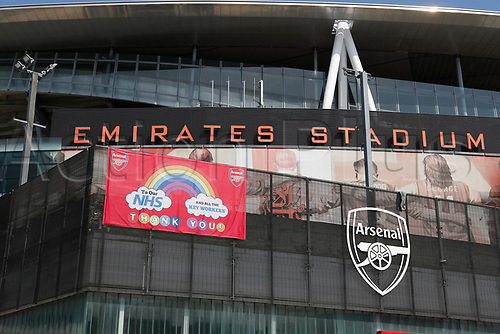 9th May 2020, Emirates  Stadium, London, England; Special NHS banner outside the Emirates Stadium during the Covid-19 lockdown
