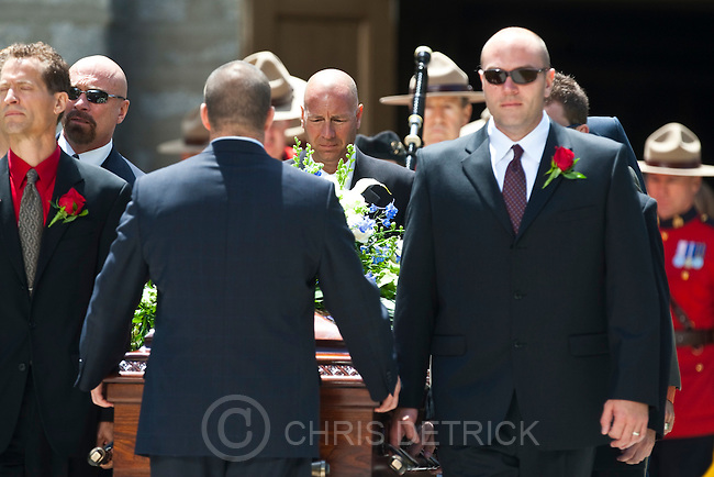 "Chris Detrick  | The Salt Lake Tribune.The pall bearers bring out the casket during the funeral service for Arnold Friberg at the Assembly Hall on Temple Square Saturday, July 10, 2010. Most renowned for his vivid depictions of scenes from The Book of Mormon and for his 1975 painting ""Prayer at Valley Forge,"" which showed President George Washington on one knee in a winter's forest beside his horse, Friberg died  at age 96. He died after hip surgery following a June 21 fall outside his Holladay home."