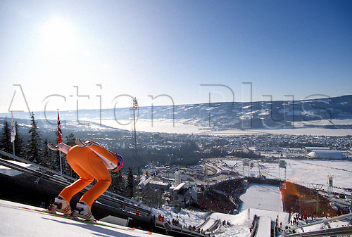 february 1994: A ski jumper begins his descent during the K120 competition at the Lillehammer Olympic Games, Norway Photo:Glyn Kirk/action plus...9402 winter sport ski jumping olympics