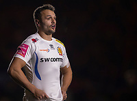 Exeter Chiefs' Phil Dollman<br /> <br /> Photographer Bob Bradford/CameraSport<br /> <br /> Gallagher Premiership Round 9 - Harlequins v Exeter Chiefs - Friday 30th November 2018 - Twickenham Stoop - London<br /> <br /> World Copyright &copy; 2018 CameraSport. All rights reserved. 43 Linden Ave. Countesthorpe. Leicester. England. LE8 5PG - Tel: +44 (0) 116 277 4147 - admin@camerasport.com - www.camerasport.com