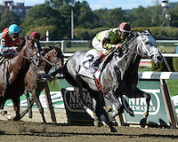 Graydar wins the Grade II Kelso Stakes  at Belmont Park, New York, 9/28/13....Ridden by Edgar Prado....