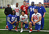 Kevin Reese, New York Giants General Manager, back left, and Head Coach Tom McAdoo, back right, pose with the team's 2017 draft picks during the first day of team Rookie Camp at Quest Diagnostics Training Center in East Rutherford, NJ on Friday, May 12, 2017. Appearing with Reese and McAdoo are, front row, from left: Avery Moss #91, Evan Engram #88 and Adam Bisnowaty #66. Back row, from left: Wayne Gallman #30, Davis Webb #5 and Dalvin Tomlinson #94.