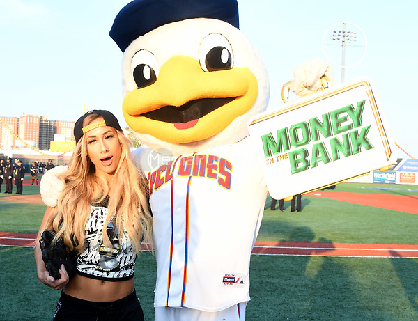 Brooklyn, NY - AUGUST 17: WWE Superstars Carmella and Pee Wee visits MCU Park in Brooklyn, New York on August 17, 2017 during Summer Slam Week. Photo Credit: George Napolitano/MediaPunch