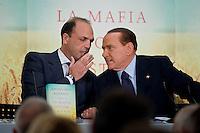 Roma, 29 Novembre ,2011. Silvio Berlusconi e Angelino Alfano alla presentazione del libro sulla mafia