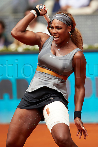 07.05.2014 Madrid, Spain. Serena Williams of USA celebrates her win during the game with Shuai Peng of China on day 4 of the Madrid Open from La Caja Magica.