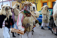 Buso on the Tuesday procession of the Busojaras Spring  festival 2010 Mohacs Hungary - Stock photos