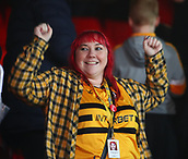 5th February 2019, Rodney Parade, Newport, Wales; FA Cup football, 4th round replay, Newport County versus Middlesbrough; A Newport County fan celebrates the win after the game