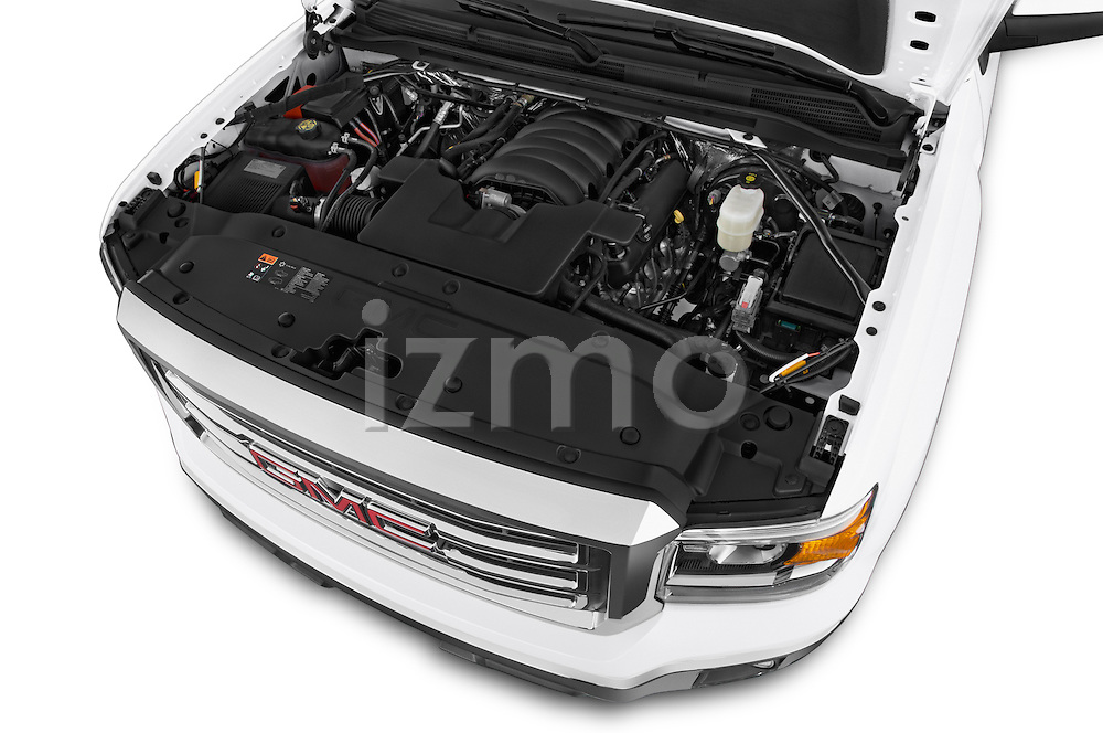 Car Stock 2015 GMC Sierra 1500 SLE 4 Door Pick-up Engine high angle detail view