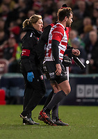 Gloucester's Danny Cipriani leaves the field after an injury<br /> <br /> Photographer Bob Bradford/CameraSport<br /> <br /> European Rugby Heineken Champions Cup Group E - Gloucester v Montpellier Herault Rugby - Saturday 11th January 2020 - Kingsholm Stadium - Gloucester<br /> <br /> World Copyright © 2019 CameraSport. All rights reserved. 43 Linden Ave. Countesthorpe. Leicester. England. LE8 5PG - Tel: +44 (0) 116 277 4147 - admin@camerasport.com - www.camerasport.com