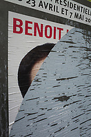 France. Ile de France. Paris. Partially torn campaign poster of French presidential election candidate Benoit Hamon for the Socialist party (PS). 21.04.17  © 2017 Didier Ruef