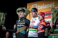 Podium:<br /> <br /> 1st place. Mathieu Van der Poel (NED/Alpecin Fenix)<br /> 2nd place Toon Aerts (BEL/Telenet Baloise Lions)<br /> 3th place Eli Iserbyt (BEL/Marlux-Bingoal)<br /> <br /> Men Elite Race<br /> UCI Cyclocross Worldcup – Hoogerheide (Netherlands)<br /> <br /> ©kramon