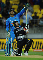 MS Dhoni watches Tim Seifert's shot during the international Twenty20 cricket match between NZ Black Caps and India at Westpac Stadium in Wellington, New Zealand on Wednesday, 6 February 2019. Photo: Dave Lintott / lintottphoto.co.nz