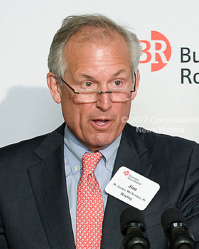 Boeing CEO James McNerney Jr.  introduces United States President Barak Obama (not pictured) prior to the President's remarks to members of the Business Roundtable to discuss jobs and economic growth during a forum at the Newseum in Washington, DC USA 06 March 2012. Economists see slightly stronger growth and hiring than they did two months ago, trends that would help President Barack Obama's re-election hopes..Credit: Shawn Thew / Pool via CNP
