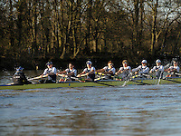 19.01.2014. River Thames, London, England. Oxford University Boat Club Trial VIIIs, Persistant VIII Dominic Parr [Bow], Matthias Wyss [2], James Fraser-Mackenzie [3], Thomas Swartz [4], Malcolm Howard [5], Michael Di Santo [6], Iain Mandale [7], Chris Fairweather [Stroke], Laurence Harvey [Cox]. The Trial serves as part of the selection process to determine who will represent Oxford University in the 160th running of the University Boat Race on April 6th 2014. The trial for the two eights, named Persistent and Stubborn is the only occasion during the season that the squad members can race side-by-side over the full four and a quarter miles of the Championship Course between Putney and Mortlake in a simulation of The BNY Mellon Boat Race.